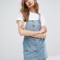 Monki Button Down Denim Overall Dress at asos.com