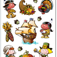 "Fall/Thanksgiving Pilgrim Clings Sheet - 12"""" x 17"""" Case Pack 12"