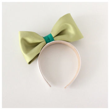 Light pink and Green Bow Headband Women - Large Bow Headband Teens - Silk Bow - Holidays Accessories - Gift Idea