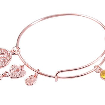 Rose Gold November Citrine Birthstone - Tree Of Life Faith Friendship Relationship Love Adjustable Charm Bracelet Bangle