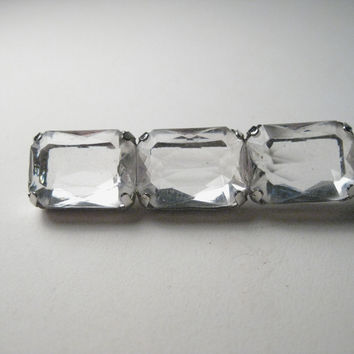 Vintage 1980s Like Ice,  Clear Faux Diamond Bar Brooch/Pin, 2""