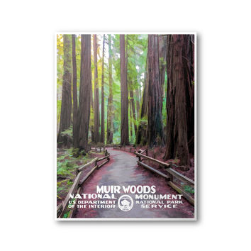 Muir Woods National Monument Poster | National Park Poster | WPA Poster | National Park Postcard | National Park Print