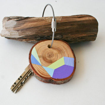 Hand painted Pine wood keychain with stainless steel cable wire, tones of baby green, blue, turquoise and mint geometric triangle shapes