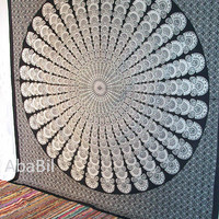 Indian Black &  White Flowers Printed Indian Mandala Hippie Throw Cotton Bohemian Bedspread tapestry Bedcover Coverlet Home Decor