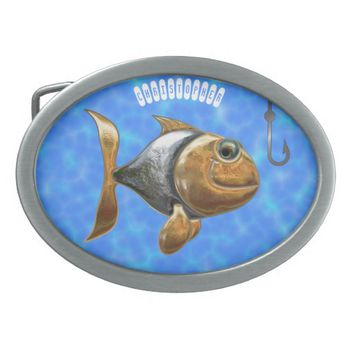 Golden Silver Sparkling Fish With Fishing Hook Oval Belt Buckle