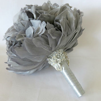 Wedding Bouquet, Bridal Bouquet, Feather Bouquet, Brooch Bouquet, Peony Bouquet, Grey, Silver, Rhinestone, Pearl, Elegant Bouquet