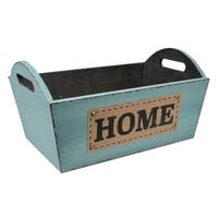 ''Home'' Distressed Basket (Blue)