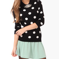 Peter Pan Collar Polka Dot Sweater