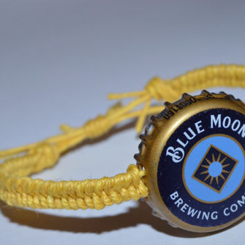 Blue Moon Recycled Beer Bottle Cap Hemp Bracelet Yellow Handmade