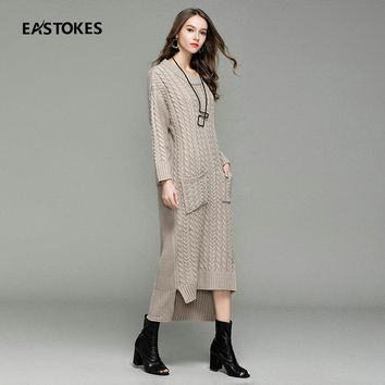 2017 Women Sweaters With Dovetail Hem  Ladies Casual Sweater Dress Maxi Length Pullovers O-neckline Autumn Thick Knitted Sweater