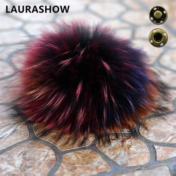 LAURASHOW 16-17cm Real Raccoon Mink Fox Fur Ball 20 Colorful Fur Winter Pom Poms For Shoes Bag Hat Fur Cap Accessories
