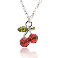 Crystal Two Cherry with Vine Necklace