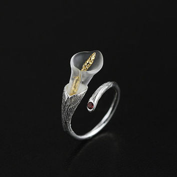New Arrival Heart Of Calla Lily Ring Crystal Funner Long Gold Spike Calla Lily Charm Open Ring Adjustable Ring For Women Gift For Her