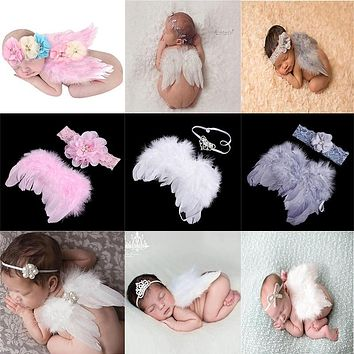 kids newborn Angel Wings Feather Wings Baby Girl hats for girls baby Shoot Hair Accessories Forcaps for boys bonet photo props