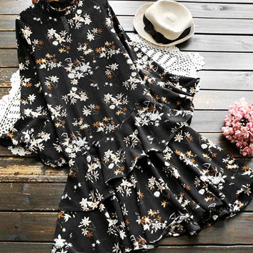 Cupshe Coy Flowers Falbala Dress