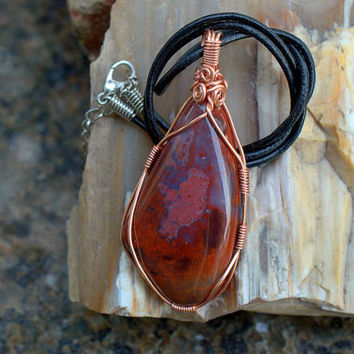 Large size Red Jasper pendant free form shape copper wire wrapped with a leather necklace