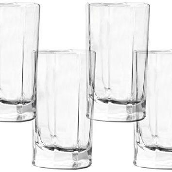 Circleware Optic Baldwin Highball Drinking Glasses Set of 4 125 oz Clear