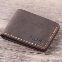 Handmade Front Pocket Wallet - Personlaized Slim Mens Leather Wallet - Mens Gift - Father Gift