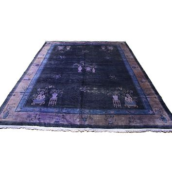 9×12 Overdyed Chinese Deco Purple Distressed Vintage Rug 2916