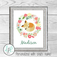 Girl Nursery Decor, Fox Name Print, Fox Baby Gift, Woodland Nursery, Woodland Baby Shower Gift, Woodland Baby Gift, Girl's Room Wall Art