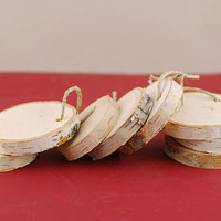 50 Birch Round Hanging Tags, Pack of 50 Birch Tree Hanging Circles, 50 Natural Birch Tree Hanging Slices, Natural Birch Tree Slices