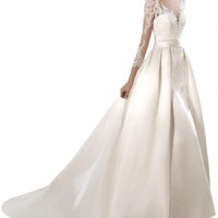 Gorgeous Bridal Tulle Lace Bodice Satin Bridal Gown Detachable Train