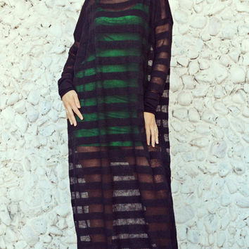 ON SALE 25% OFF Striped Sheer Dress / Extravagant Long Sheer Dress / Funky Black Acrylic Dress with Green Viscose Underneath Dress Tdk219