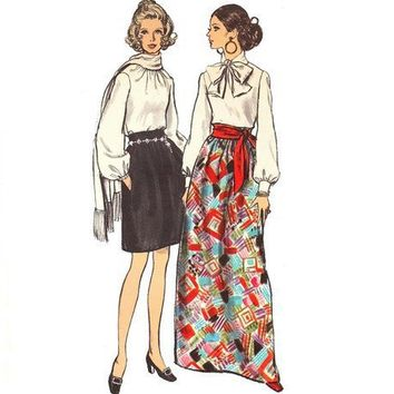 Skirt Sewing Pattern Vintage Gathered Knee Length Maxi Evening