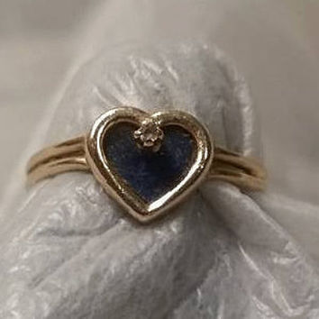 14K Solid Gold Lapis and Diamond Ring//Vintage 1970s Rings//Promise Ring//Engagement Ring//Sweetheart Ring//Size 5.5