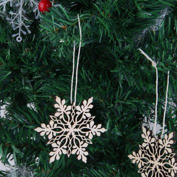 10pcs Merry Christmas Tree Hanging White Snowflake Ornaments Decoration Christmas Holiday Party Home Decor (Wood Color)  171122