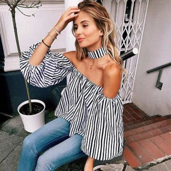 DCCKO03T Off Shoulder Blouses 2017 New Fashion Sexy Women Casual Loose Long Sleeve Short Shirts Striped Tops S