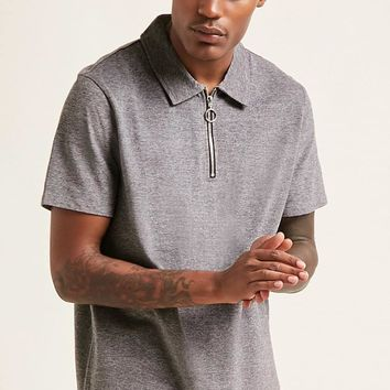 Marled Pull-Ring Polo