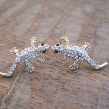Rhinestone Lizard Earrings - Gold Lizard Earrings - Lizard Earrings
