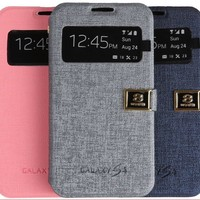 Vintage Pattern Case w S Smart View for Samsung Galaxy S4 i9500 i9505