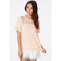 Missguided - Ptysia Nude Organza Panel Shell Top