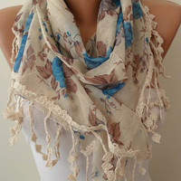 Beige and Blue Scarf with Beige Trim Edge by SwedishShop on Etsy