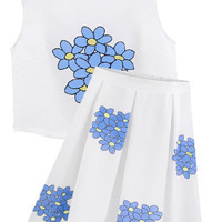 White Printed Two-piece Short Sleeve Trendy Dress