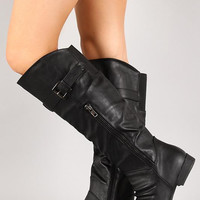 Slouchy Round Toe Riding Knee High Boot Color: Cognac, Size: 6