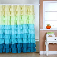 Lavish Home Spring Ruffle Shower Curtain w- Buttonhole