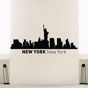 WALL DECAL VINYL STICKER NEW YORK SKYLINE CITY SILHOUETTE DECOR SB154