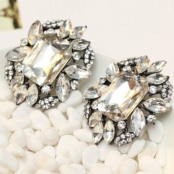Women Fashion Earrings Brand Sweet Metal With Gems Stud Crystal Earring For Women