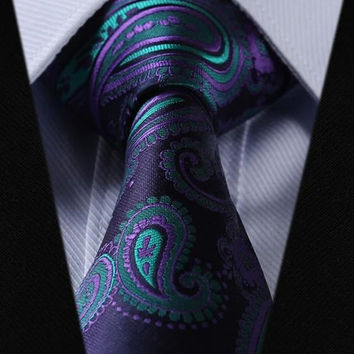 Dark Purple Paisley Tie with Light Purple and Turquoise Accents
