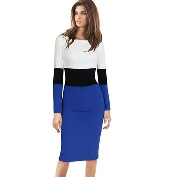 Women Winter Dress Bodycon Causal Office Midi Dress 2015 Plus Size XXL White Cotton Contrast Color Block Pencil Dresses Vestidos