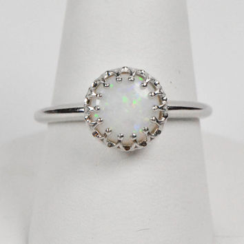 14kt White Gold 8mm Round Genuine Australian Opal Crown Ring