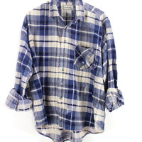 Faded Blue, White, and Navy Plaid Sunwashed Flannel Shirt Size XL - Cuff N Roll