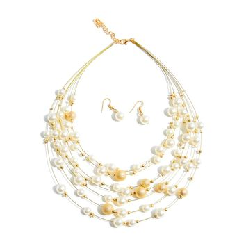 Faux Pearl Delicate Necklace & Earring Set