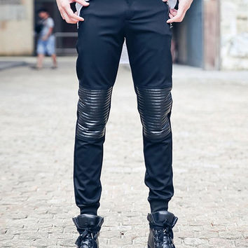 Casual Zipper Fly Ribbed Faux Leather Spliced Jogger Pants