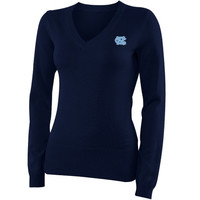 North Carolina Tar Heels :UNC: Ladies V-Neck Knit Sweater - Navy Blue