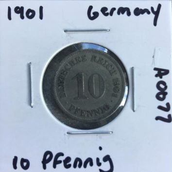 1901 German Empire 10 Pfennig Coin A0077