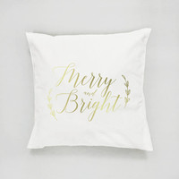 Merry and Bright Pillow, Gold Pillow, Christmas Pillow, Home Decor, Cushion Cover, Throw Pillow, Bedroom Decor, Modern Pillow, Bed Pillow
